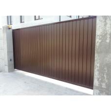 Уличные сдвижные ворота на проем 4500х2200мм из профнастила
