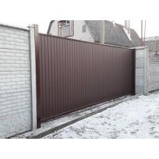 Уличные сдвижные ворота на проем 6500х2500мм из профнастила