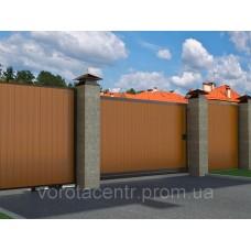 Уличные сдвижные откатные ворота DoorHan в алюминиевой раме с заполнением сэндвич-панелями SLG-A